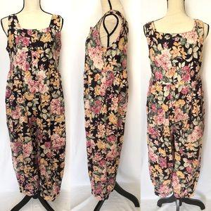Vtg 90s Floral Sleeveless Romper Jumpsuit Large